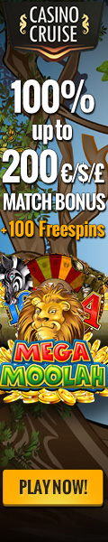 CasinoCruise.com Welcome Bonus 100% up to 200 on Mega Moolah