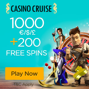 Casino Cruise 200 Netent free spins plus €1000 GRATIS