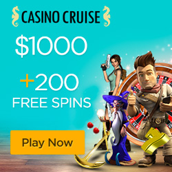 CasinoCruise.com Welcome Package 1000 + 200 FS ENG USD 250x250