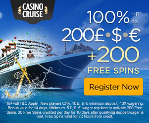 CasinoCruise.com Welcome 100% up to 200 + 200 Free spins
