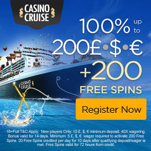 CasinoCruise.com Welcome 100% up to 200 + 100 FS ENG ALL