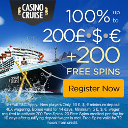 CasinoCruise.com Welcome 100% up to 200 + 200 FS ENG ALL