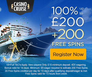 Casino Cruise Welcome Package 1000 + 100 Free Spins GBP