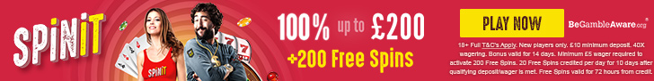 Spinit.com Welcome Bonus 100% up to 200 ENG GBP