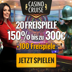 CasinoCruise.com Exclusive 20 FS ND + 150% up to 300 + 100 FS GER EUR