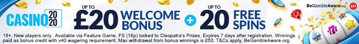 Get a £300 Welcome Bonus + 400 Spins at Casino 2020
